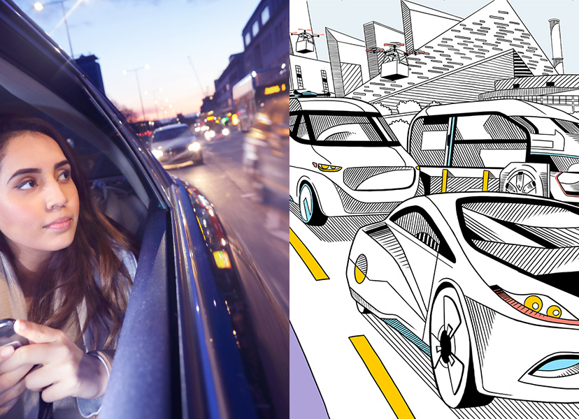 Young woman in the back of a rideshare service next to a pencil drawing of a busy road